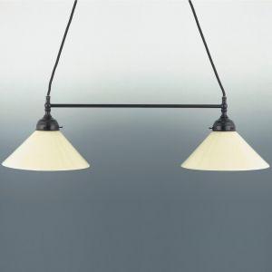 2-flg Pendelleuchte in braun - Mundgeblasenes Opalglas