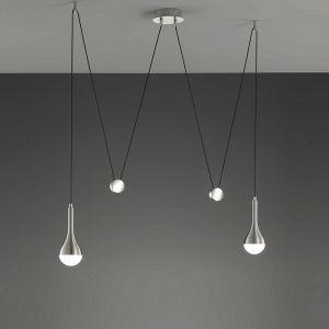 2-flg. LED-JoJo-Pendelleuchte Drops in Alu-gebürstet, Glas weiß