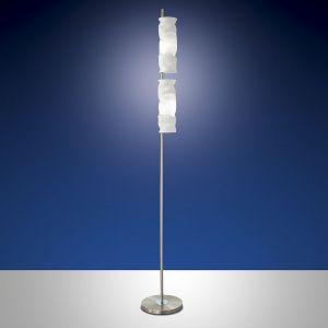 2-flg. Stehleuchte in Nickel mit auffälligem Glas, Fußdimmer