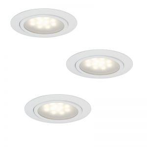 3er Set LED-Möbel-Einbauleuchten-Set, 3 Oberflächen, 3x 1W LED
