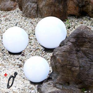 LHG 3er-Set Kugelleuchten mit Kabel 2x 20 cm und 1x 30 cm