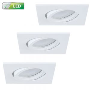 LHG 3er-Set LED-Einbaustrahler weiß, eckig, GU10 5W