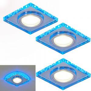 3-er Set 7W Deckenspots aus Glas eckig , inkl. 7 Watt LED