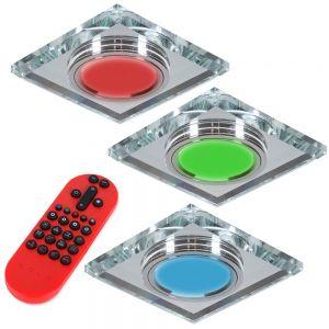 LHG 3-er Set RGB Glasrahmen LED-Einbaustrahler eckig  inkl. Fernbedienung
