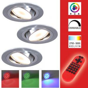 LHG 3-er Set RGB LED-Einbaustrahler alu, rund  inkl. Fernbedienung