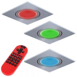 LHG 3-er Set RGB LED-Einbaustrahler Eckig, Alu, grau  inkl. Fernbedienung