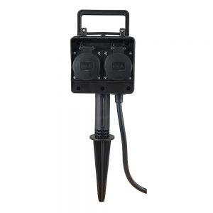 4-fach Energieverteiler für Außen , Garten Steckdose mit 1,5m Anschlusskabel und Stecker und Erdspieß, Strom-Verteilerdose