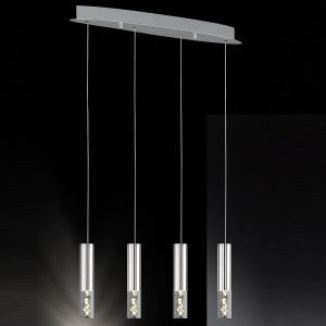 4-flg. LED-Pendelleuchte Bubble, Blasenglas