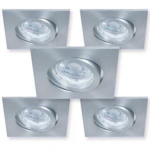 LHG 5er Set Eckiger LED Decken-Einbaustrahler