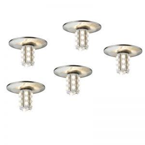 5er Set LED-Einbauleuchten Starline LED in Eisen-gebürstet inklusive 5x 1W LED 3000°K und Trafo