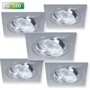 LHG 5er Set LED-Einbaustrahler Alu-gebürstet Eckig - 5 x GU10 5W