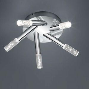 5-flg. LED-Deckenleuchte Bubbles, Acrylglas mit Blasendekor