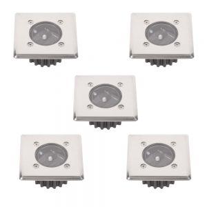 LHG 5-er Set LED-Solar-Bodeneinbauleuchte McShine  IP44 Edelstahlfront eckig