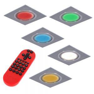 LHG 5-er Set RGB Decken-Einbaustrahler, Metall, Aluminium, eckig,schwenkbar, inkl. Fernbedienung