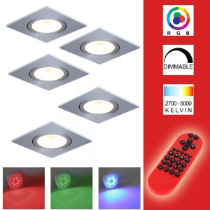 LHG 5-er Set RGB LED-Einbaustrahler Eckig, Alu, grau  inkl. Fernbedienung