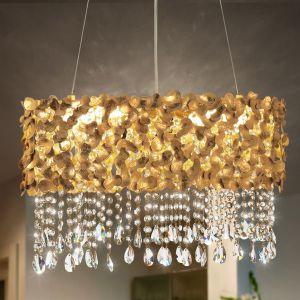 6-flammige Pendelleuchte - Blattgold patiniert - Kristallbehang