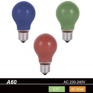A60 Stoßfestes Leuchtmittel 40 W  E27 Farbe wählbar