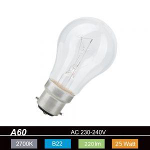A60  B22 Leuchtmittel klar - 25W oder 100 Watt