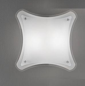 Attraktive Deckenleuchte mit teilsatiniertem Glas 40 x 40 cm