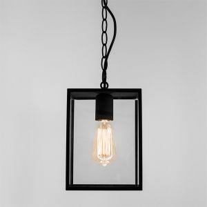 Außenpendelleuchte in Schwarz mit Klarglas, IP23 - inklusive Leuchtmittel
