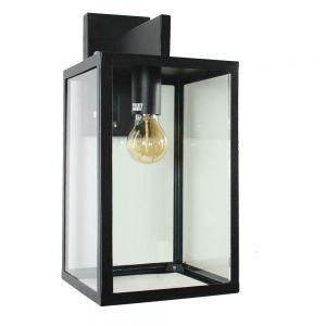 Außenwandlampe aus Edelstahl pulverbeschichtet in schwarz mit klaren Glasscheiben