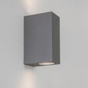 Außenwandleuchte Chios silber, 2-flammig 2x 6 Watt, silber-matt, 15,00 cm