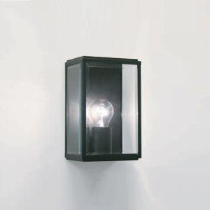 Außenwandleuchte eckig, Schwarz mit Glas klar 1x 60 Watt, schwarz, klar