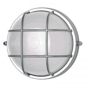 Außenwandleuchte, Deckenleuchte, rund, D=24 cm, LED geeignet, silber silber