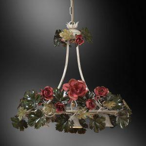Außergewöhnliche Pendelleuchte - Handarbeit aus Italien - Rosendekor - 3-flammig