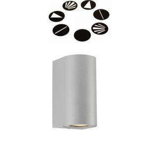 Aussen Wandleuchte Canto Maxi in Silber 2x 35 Watt, silber, satiniert