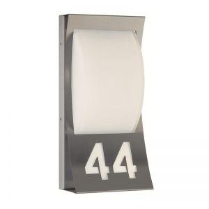 Aussenleuchte Hausnummer aus Edelstahl und Opalglas