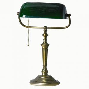 LHG Bankerleuchte LED  Ancilla in bronze, Glas grün, 60W/E27, Zugschalter inkl 4Watt LED