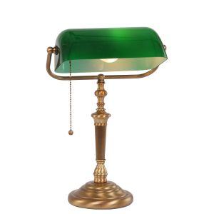 Bankerleuchte, Tischleuchte mit schwenkbarem, grünem Schirm aus Glas, Bankers Lamp, Fuß bronze, Schnurschalter, E27 bronze/grün, III