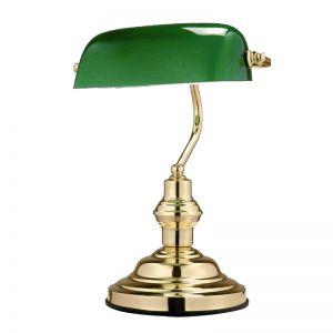 Bankers Lamp - beliebte Tischleuchte für Zuhause oder im Büro - Messing poliert - Glas grün grün/messingfarbig, Messing-poliert