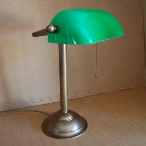 Bankers-Lamp in altmessing - Glasschirm in grün grün