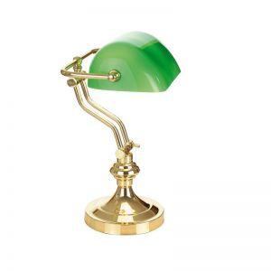 Bankers-Lamp in messing poliert mit Reflektor in grün, Arm schwenkbar