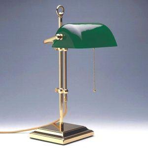 Bankers-Lamp verstellbar, Messing-poliert, Glas in 3 Farben