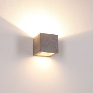 Beton-Optik Gipswandleuchte Korytko12 dunkel, Up-and Downlight , dunkelgrau