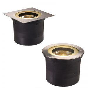 Boden-Einbauleuchte, runde oder eckige Edelstahlblende