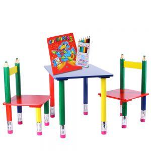 bunter Kindertisch + 2 Stühle in Stiftform + Malbuch + 6 Buntstifte | Kindersitzgruppe 3-teilig| Kindermöbel