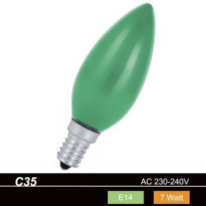 C35 Kerze  7W  E14  in Grün für die Partylichterkette