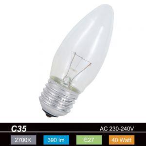 C35 Kerze, 40 Watt klar, E27 1x 40 Watt, 40 Watt, 410,0 Lumen