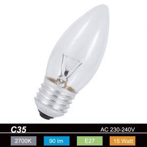 C35  Kerze  E27 , klar  15W 1x 15 Watt, 15 Watt, 90,0 Lumen