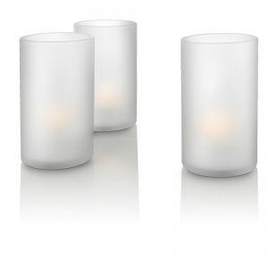 Candle Lights mit LED - Transparentes Glas - 3-flammig