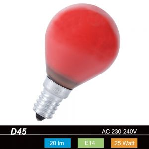 D45 Tropfen 25 Watt E14 in Rot