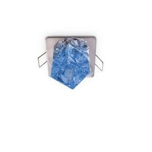 Deckeneinbauleuchte, Eiswürfeloptik, Stahlblau