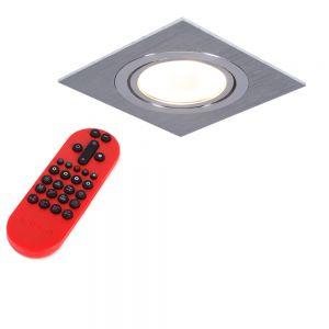 Decken-Einbaustrahler, Metall, Aluminium, eckig,schwenkbar,inkl. Fernbedienung