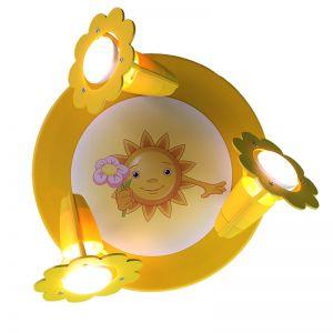 Deckenleuchte 3-flammig mit Sonne und Blümchen-Motiv