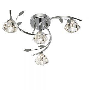 Deckenleuchte 4-flammig mit Kristallglas in Chrom 4x 33 Watt, chrom, Chrom