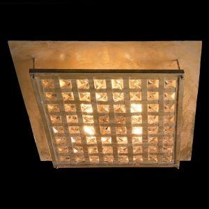Deckenleuchte 50 x 50cm - Blattgold patiniert - Kristallglas